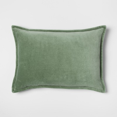 Green Velvet Lumbar Throw Pillow - Threshold™