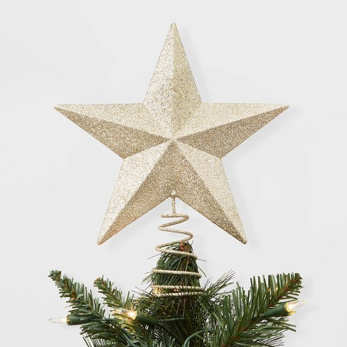 Metal Christmas Tree.Unlit Metal Glitter Star Christmas Tree Topper Gold Wondershop