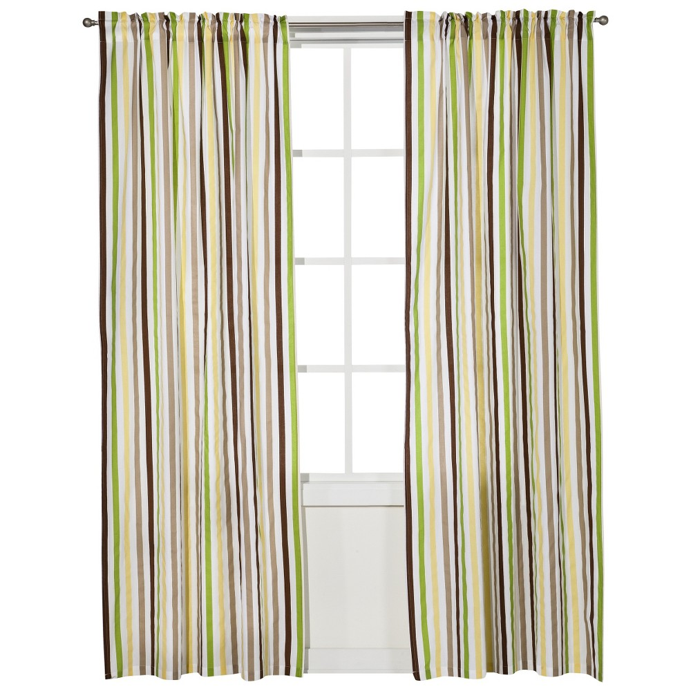 Image of Bacati Curtain Panel - Green/Yellow Chocolate Stripes