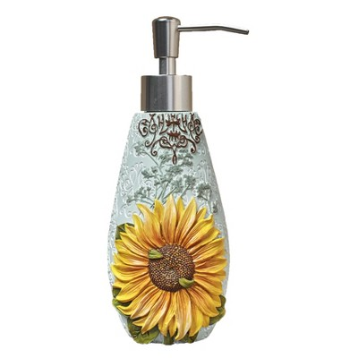 Lakeside Sunflower Soap or Lotion Pump Dispenser with Floral Farmhouse Motif