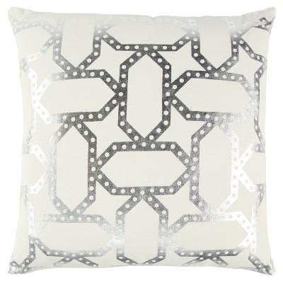 "20""x20"" Metalic Geometric Throw Pillow - Rizzy Home"