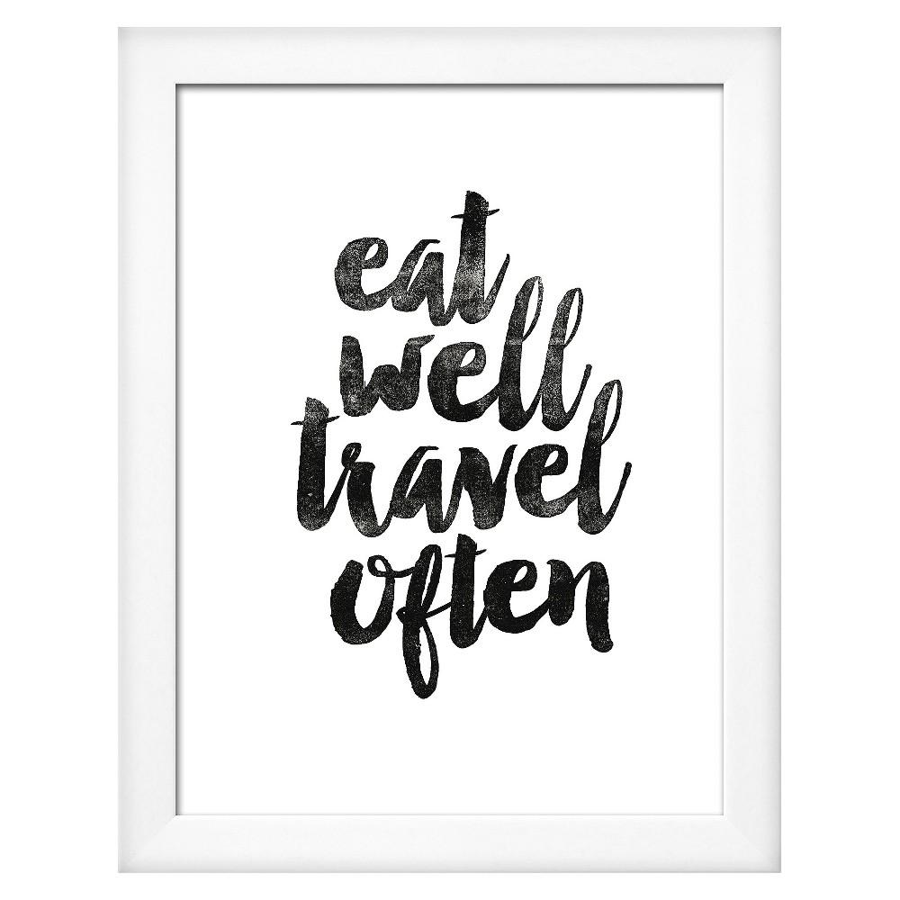Eat Well Travel Often 2 White Wood Framed Art Print, Gray