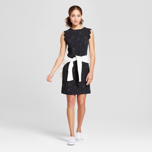 Women's Printed Scallop Sleeve Crepe Dress - A New Day™ Black - image 1 of 3