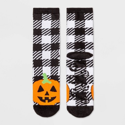 Women's Buffalo Plaid Pumpkin Halloween Terry Lined Crew Socks with Grippers - Hyde & EEK! Boutique™ Black/Orange 4-10