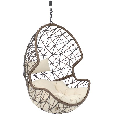 Danielle Resin Wicker Hanging Egg Chair with Beige Cushions - Sunnydaze Decor