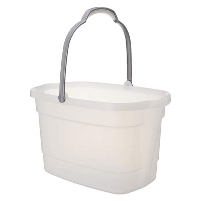 Casabella 4 Gallon Storage Bucket Caddy Bin with Handle for Storing Cleaning Products, Mopping Floors, or Cleaning Car, White