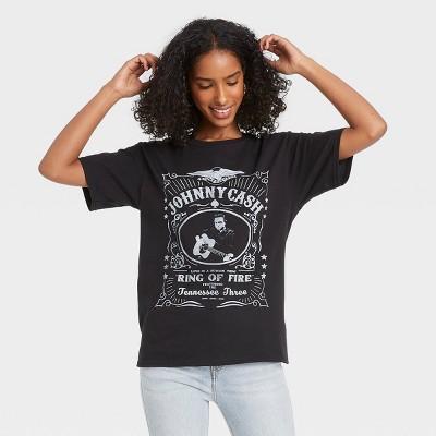 Women's Johnny Cash King of Fire Short Sleeve Graphic T-Shirt - Black