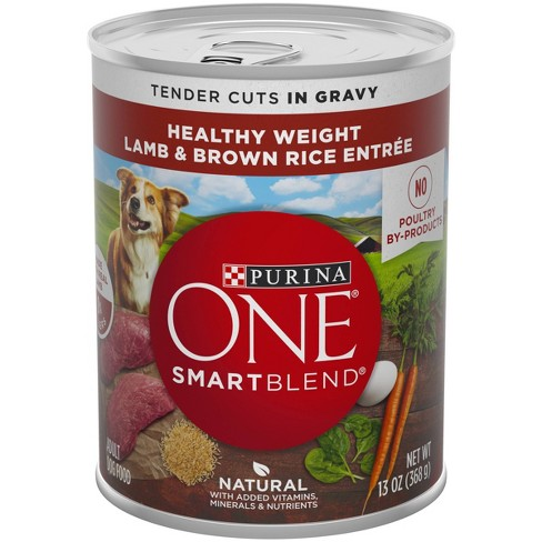 Purina ONE Weight Management Natural Wet Dog Food SmartBlend Healthy Weight Tender Cuts Lamb & Brown Rice - 13oz - image 1 of 4