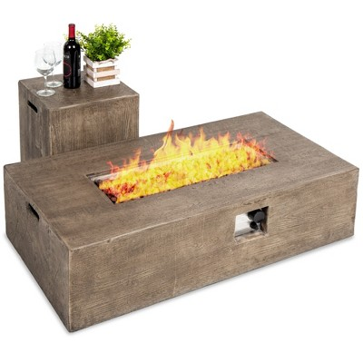Best Choice Products 48x27in 50,000 BTU Patio Propane Fire Pit Table, Side Table Tank Storage w/ Wood Finish, Pit Cover
