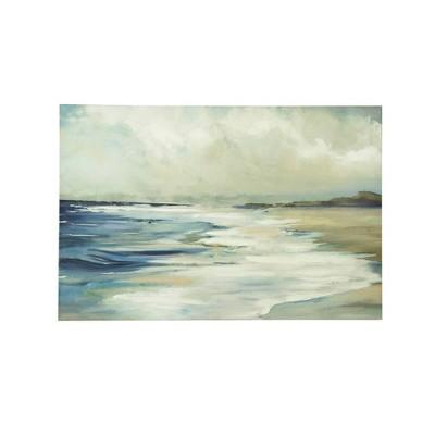 "23.5"" W Hand Painted Beach Scene Framed Wall Canvas Art - Creative Co-Op"