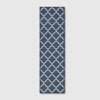 2'X7' Quatrefoil Design Tufted Accent Rugs Navy Blue - Threshold™