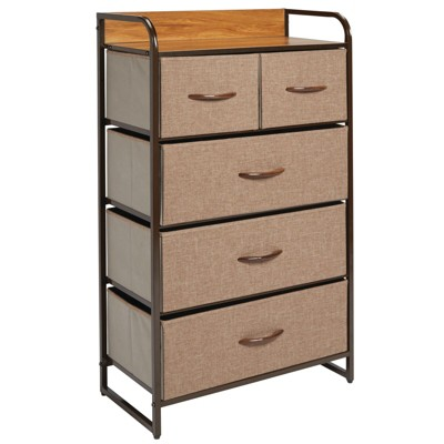 mDesign Tall Dresser Storage Chest, 5 Fabric Drawers
