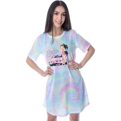 Barbie Women's Malibu Barbie and Pink Corvette Tie-Dye Nightgown Sleep Shirt