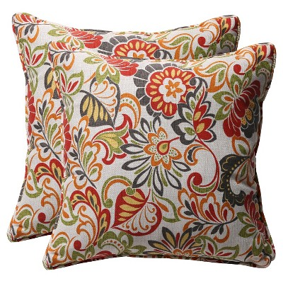 """Outdoor 2-Piece Square Toss Pillow Set Green/Off-White/Red Floral - 18"""""""