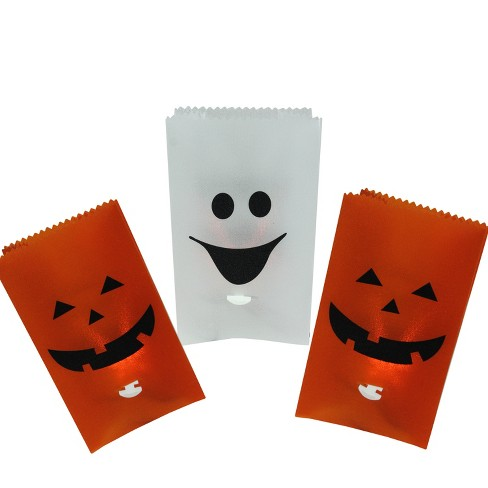 """Northlight 3ct Flickering Pumpkin and Ghost Halloween Luminary Pathway Markers Black Wire - 9.5"""" Clear - image 1 of 3"""