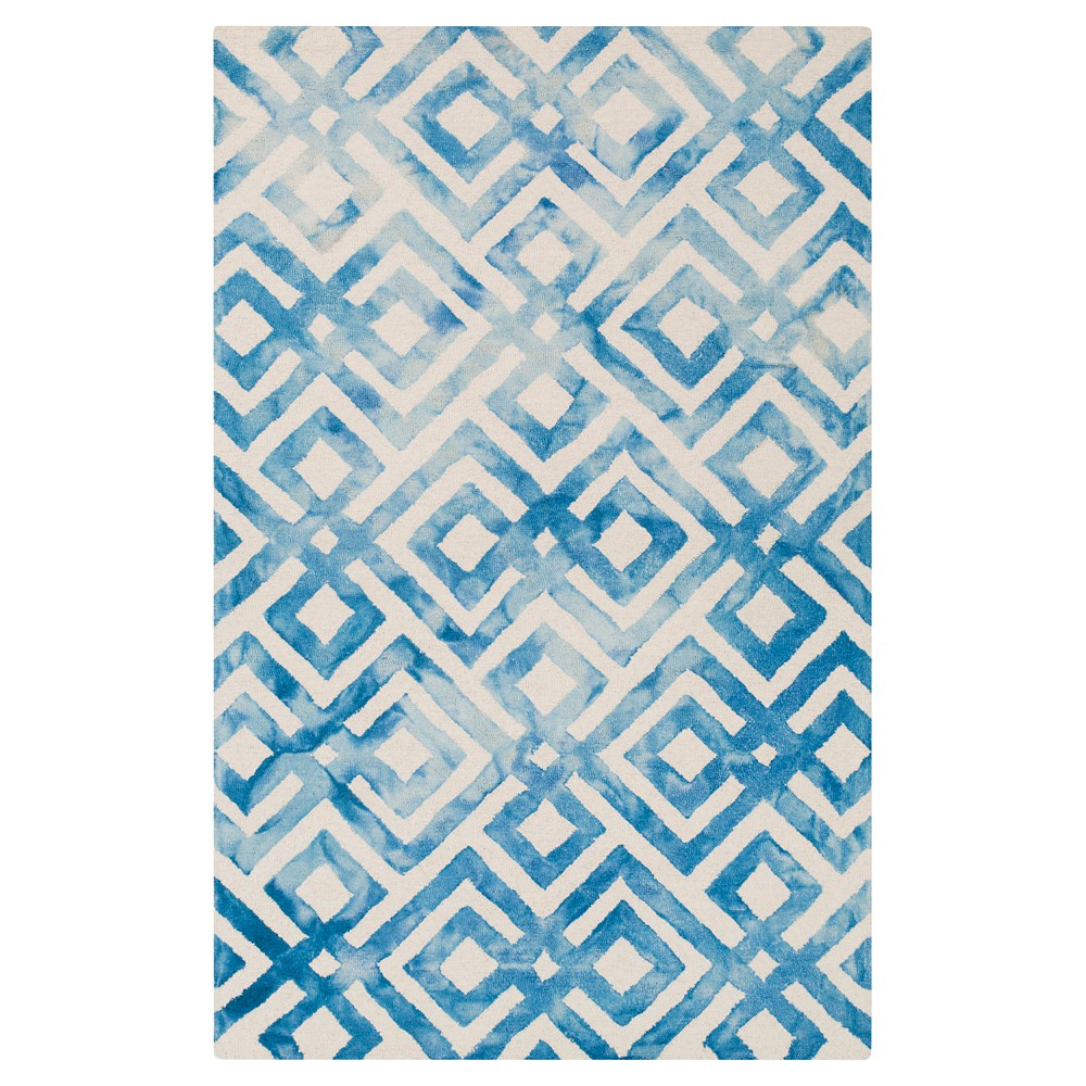 Bright Blue Abstract Hooked Accent Rug - (4'x6') - Surya