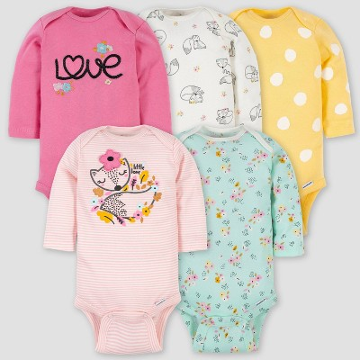 Gerber Baby Girls' 5pk Fox Long Sleeve Onesies - Pink 0-3M