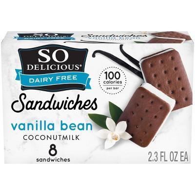 So Delicious Dairy Free Vanilla Bean Coconut Milk Frozen Dessert Sandwich - 8ct