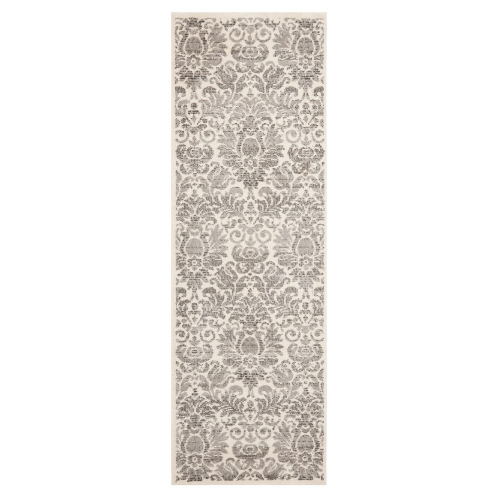 Gray/Ivory Floral Loomed Runner 2'3X9' - Safavieh, Graynivory