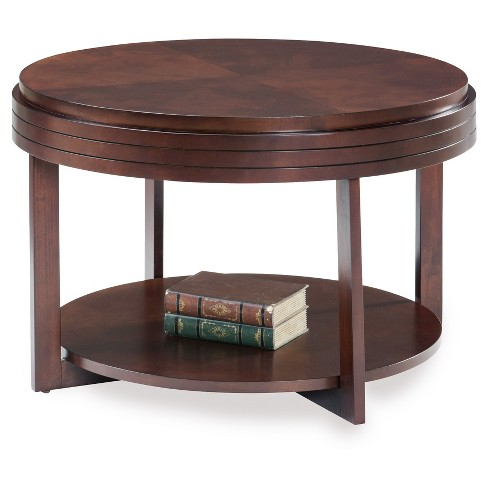 Round Condo, Apartment Coffee Table - Chocolate Cherry - Leick Home - image 1 of 2