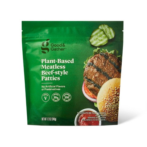 Frozen Plant Based Meatless Beef-Style Patties - 12oz - Good & Gather™ - image 1 of 3