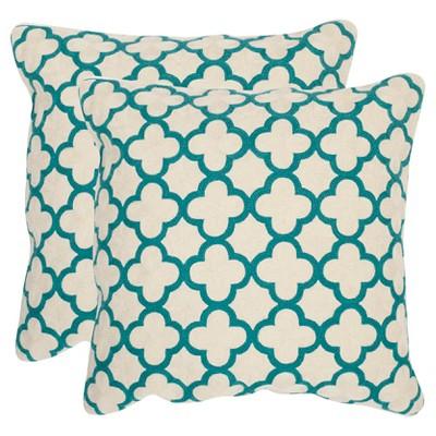 "Teal Sandre S/2 Throw Pillow (20""x20"") - Safavieh"