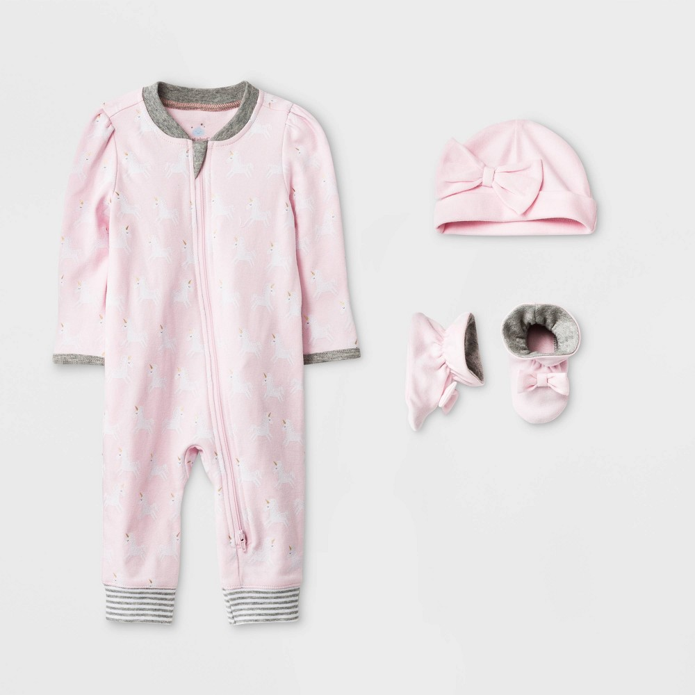 Image of Baby Girls' 3pc Unicorn Layette Gift Set - Cloud Island Pink 3-6M, Girl's, Blue/Pink