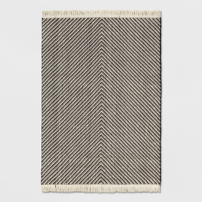 Black/White Damask Woven Area Rug 5'x7' - Project 62™