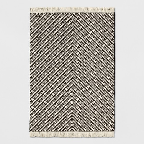 Woven Area Rug Black White Project 62