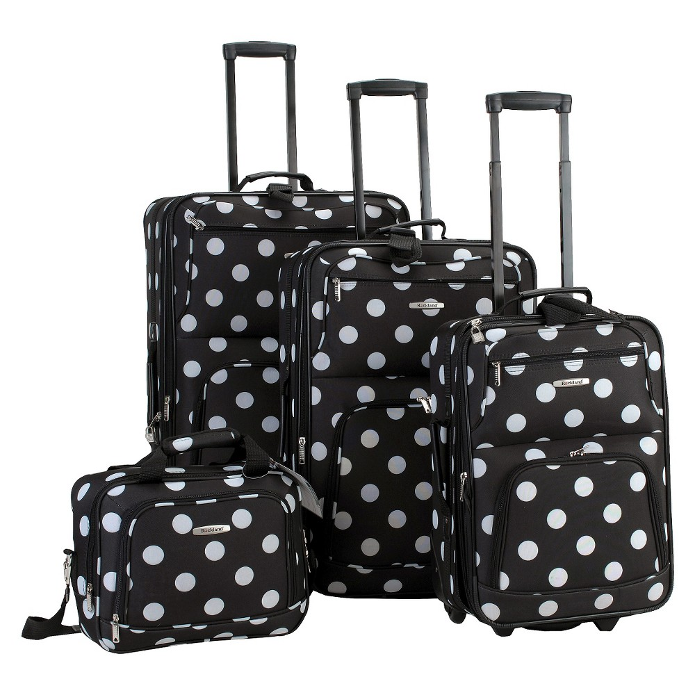 Rockland Galleria 4pc Luggage Set - Black Dot