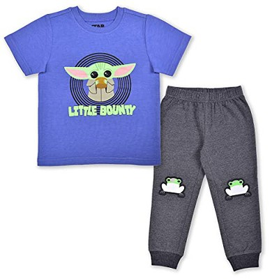 Star Wars The Mandalorian Boy's 2-Pack Little Bounty Baby Yoda Graphic Tee Shirt and Jogger Pant Set for Infants