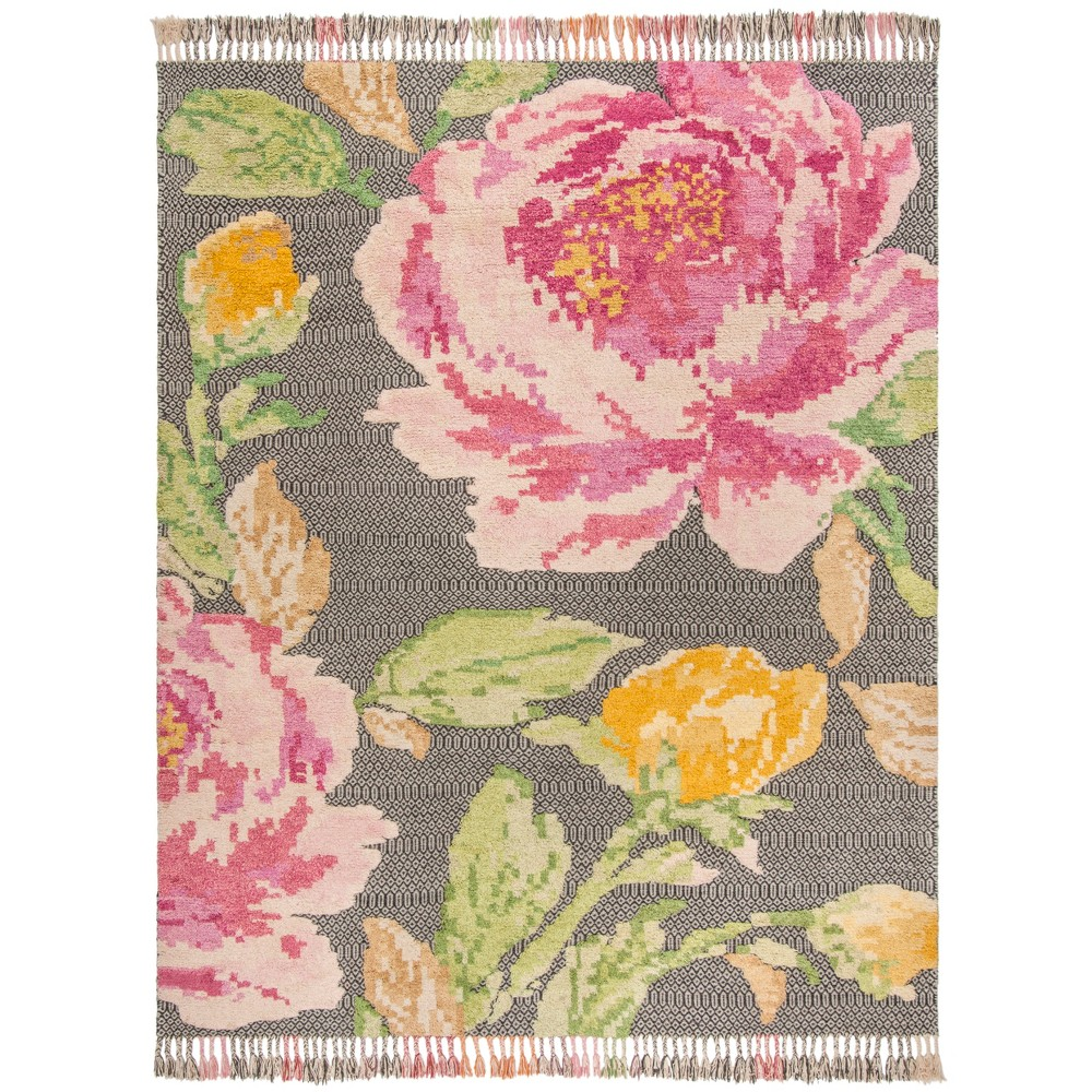 8'X10' Floral Knotted Area Rug Pink/Dark Gray - Safavieh