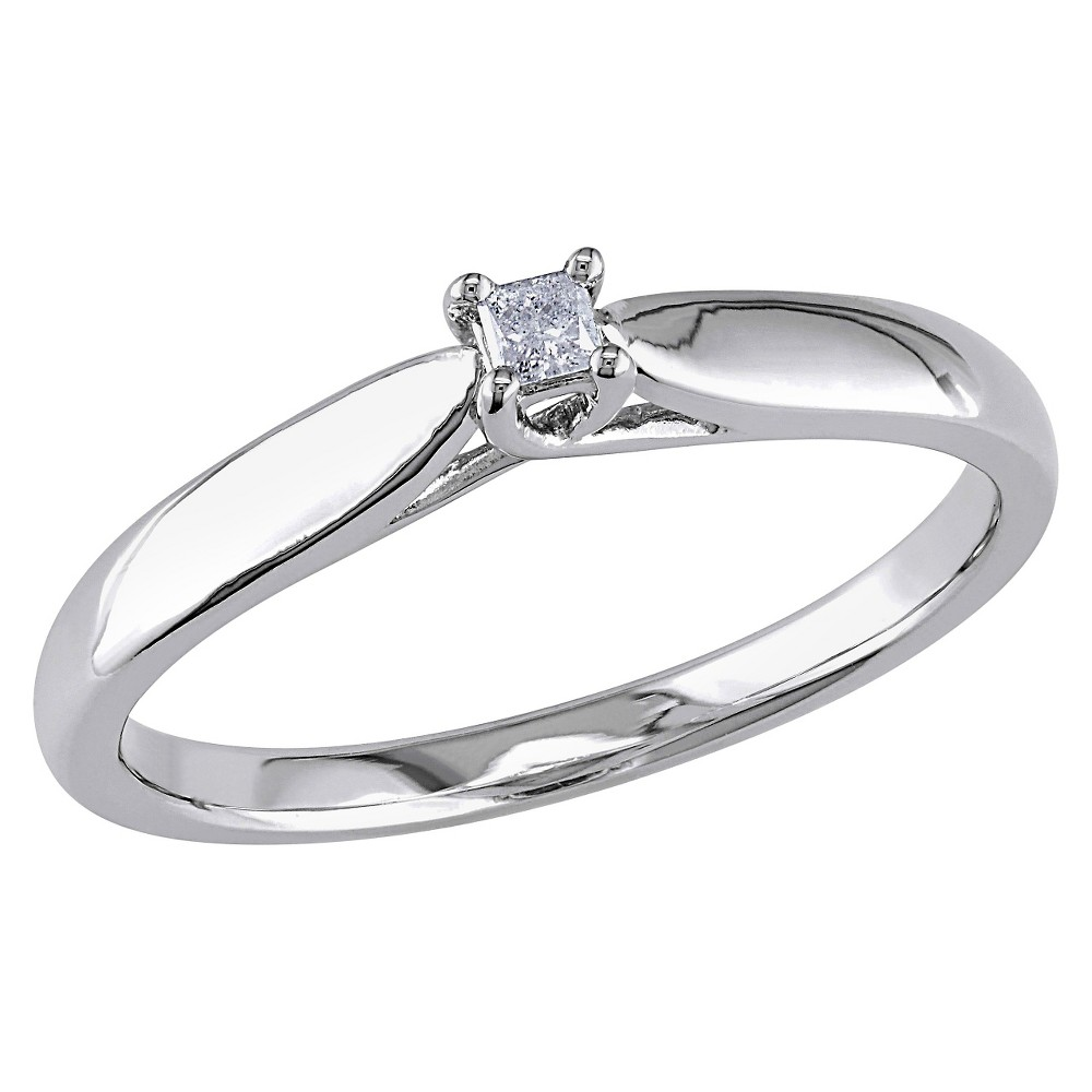 Image of 0.05 CT. T.W. Princess Cut Diamond Solitaire Ring in Sterling Silver - GH I3 6 - White, Women's