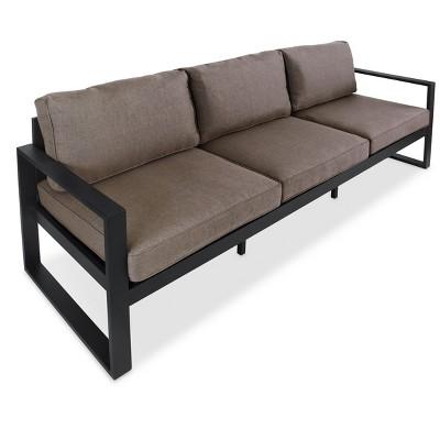 Baltic Metal Patio Sofa - Black - Real Flame