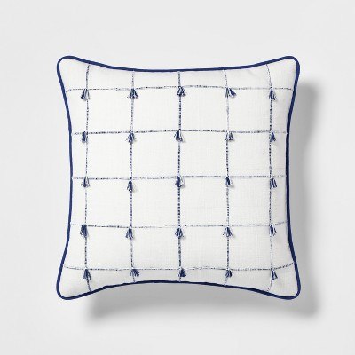 Woven Plaid With Mini Fringe Square Throw Pillow Blue/White - Threshold™