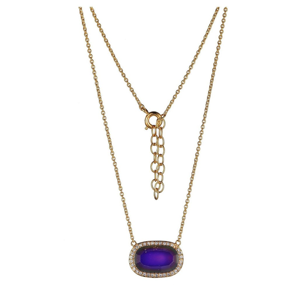 Color Changing 18k Gold Over Fine Silver Plated Bronze Oval Thermochromic Crystal Mood Necklace - 16+2, Girl's