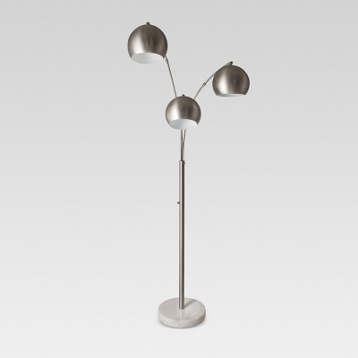 Span 3-Head Metal Globe Floor Lamp Brushed Nickel Includes Energy Efficient Light Bulb - Project 62™