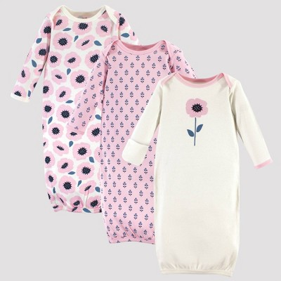 Touched by Nature Baby Girls' 3pk Blossoms Organic Cotton Gowns - Pink 0-6M