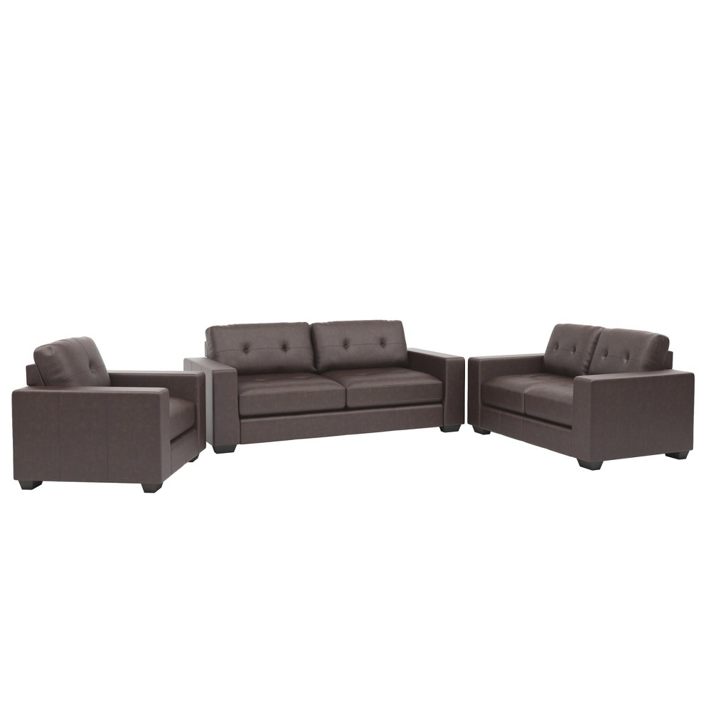 Image of 3pc Corliving Club Tufted Bonded Leather Sofa Set Chocolate Brown