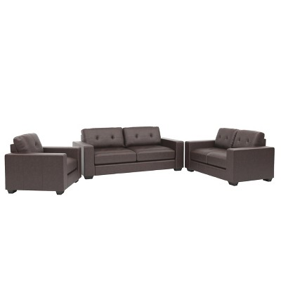 Charmant Corliving 3pc Club Tufted Bonded Leather Sofa Set Chocolate Brown