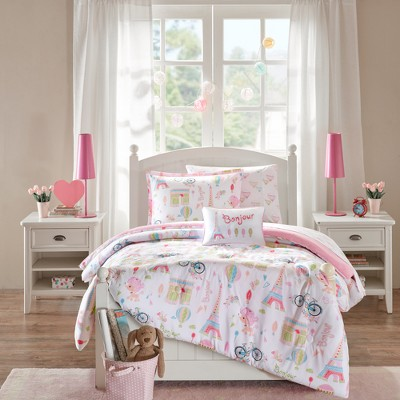 Poodles In Paris Pink Bed and Sheet Set