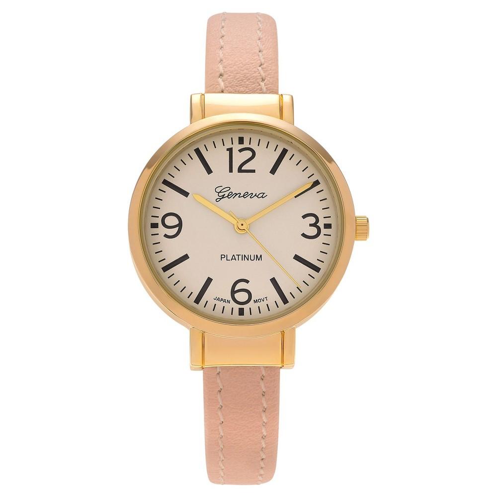 Women's Geneva Platinum Round Case Thin Cuff Watch - Pale Peach