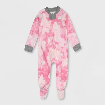 Honest Baby Girls' Tie-Dye Snug Fit Footed Pajama - Pink 12M