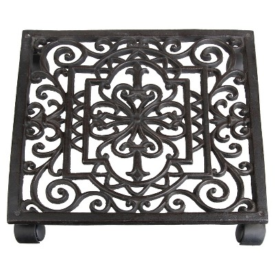 12  X12  X2.3  Antique Cast Iron Square Plant Trolley - Brown - Esschert Design