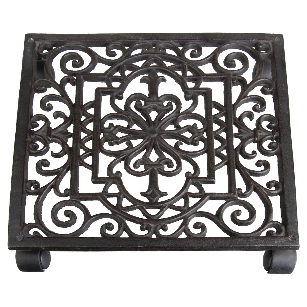 "Image of ""12 X12"""" X2.3"""" Antique Cast Iron Square Plant Trolley - Brown - Esschert Design"""