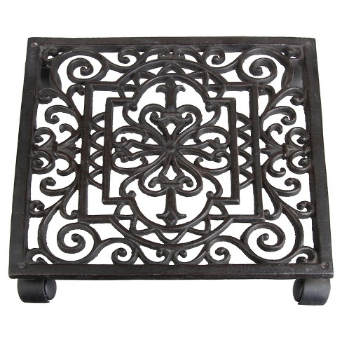 "12"" X12"" X2.3"" Antique Cast Iron Square Plant Trolley - Brown - Esschert Design - image 1 of 1"