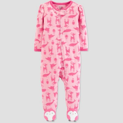 Baby Girls' Animal Microfleece Sleep 'N Play - Just One You® made by carter's Pink 3M