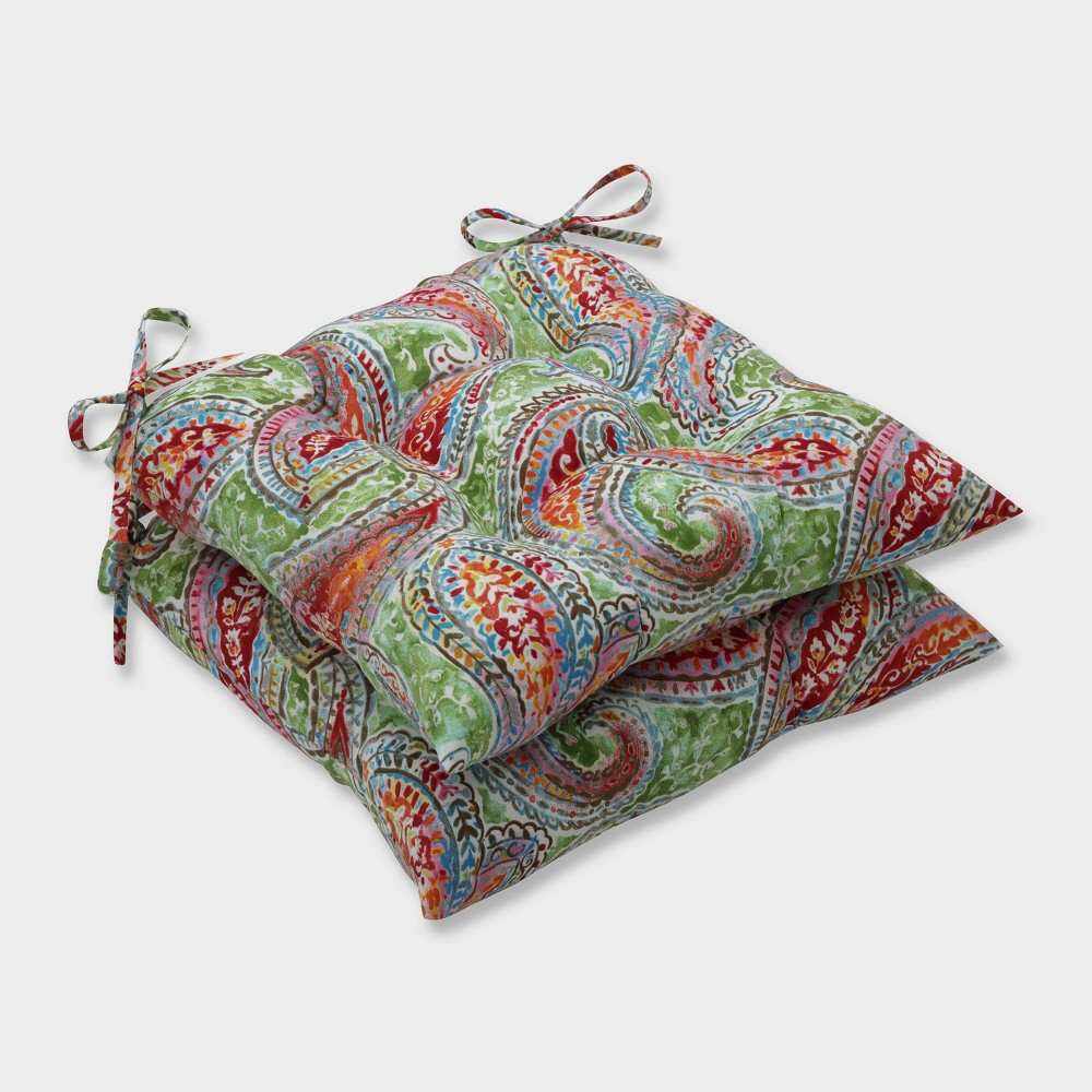 2pk Bright and Lively Fiesta Wrought Iron Outdoor Seat Cushions Green - Pillow Perfect