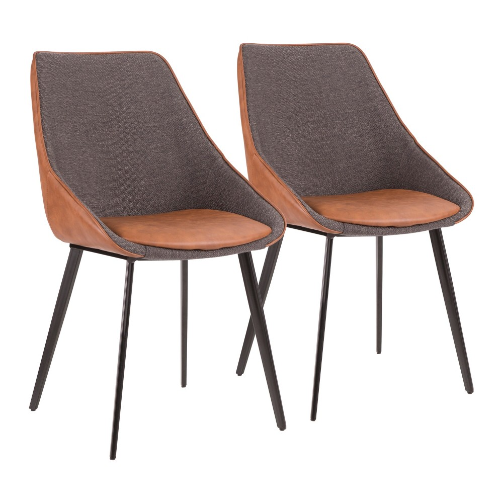 Set of 2 Marche Contemporary Two Tone Chair Brown - LumiSource