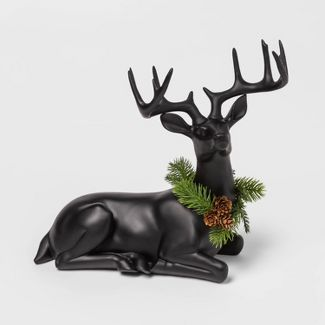 12.9u0022 x 6.2u0022 Resin Sitting Deer Figurine with Wreath Black - Threshold™